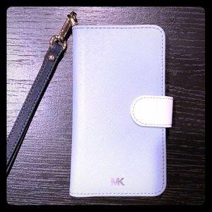 Saffiano Leather Wristlet Folio Case for iPhone.